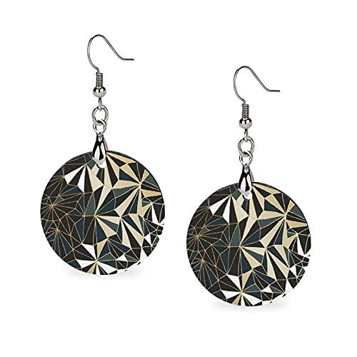 Pendientes de madera colgante, pendientes redondos con personalidad para niñas, diseño geométrico esmeralda