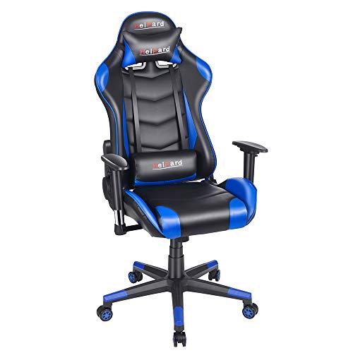 HeiPard ゲーミングチェア オフィスチェア デスクチェア ゲーム用チェア ゲーム椅子リクライニング パ ソコンチェア ハイバック ヘッドレスト ランバーサポート ひじ掛け付き 高さ調整機能 (ブルー2)