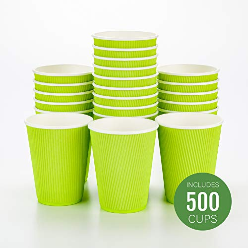 12 oz Eco Green Paper Coffee Cup - Ripple Wall - 3 1/2