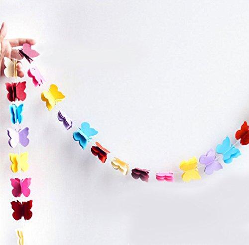 Oblique Unique® Deckenhänger 3D Girlande Bunt - hängende Papiergirlande Banner Deko - Motiv wählbar (Schmetterlinge Bunt)