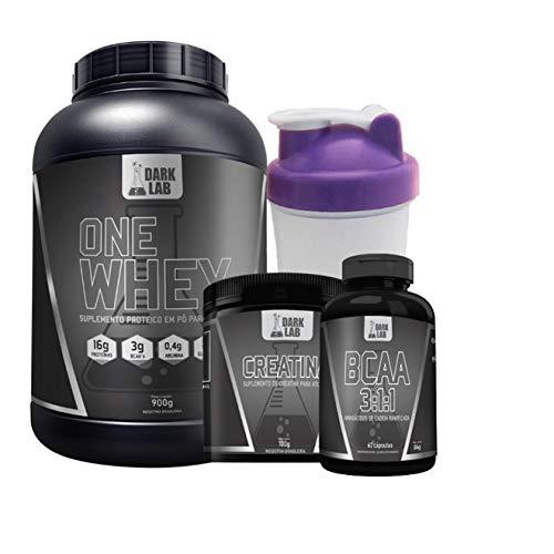 Kit One Whey Protein 900g Baunilha + Creatina 100g + Bcaa 60 Caps + Coqueteleira Roxa Dark Lab