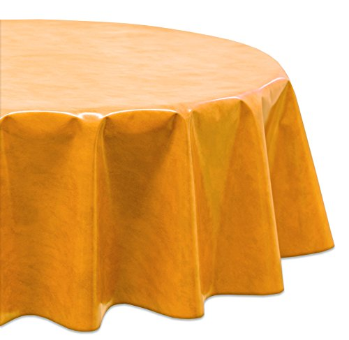 Wachstuchtischdecke OVAL RUND ECKIG Farbe u. Größe wählbar, Tischdecke Wachstuch abwischbar, Marmor (Orange Rund 140)