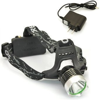 WindFire New Outdoor Super Bright CREE XM-L XML T6 U2 LED 1800 Lm Headlamp Rechargeable Headlight + AC Charger & 2x WindFire 4000mah 18650 Rechargeable Batteries (Black and silver)