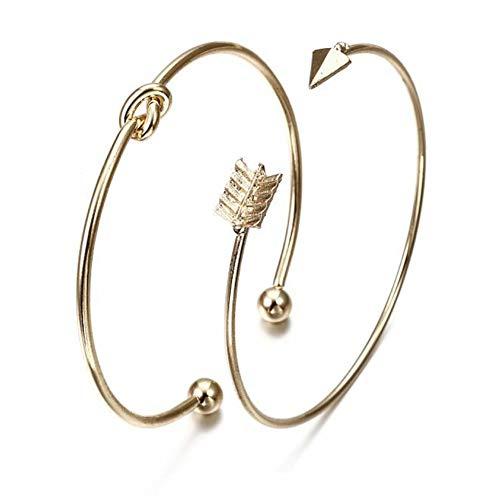 HUSHOUZHUO Vintage Gold Farbe Krawatte Knoten Armband Armreifen Einfache Twist Manschette Offene Armreifen Für Frauen Indischen Schmuck Modeschmuck