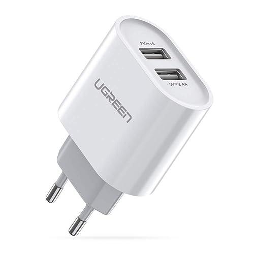UGREEN 20384 USB Ladegerät 17W 3.4A Ladeadapter 2 Ports Netzteile Smart Lade, Weiß