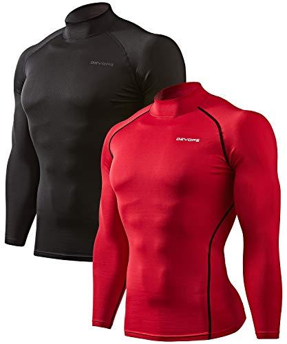 DEVOPS Men's 2 Pack Thermal Heat-Chain Compression Baselayer Tops Mock Turtleneck Long Sleeve T-Shirts (Large, Black/Red)