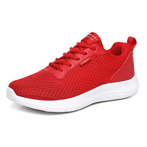 BaiMoJia Zapatillas Deportivas Hombre Zapatos Running Bambas Deporte Ligeras Verano Casual Rojo 40 EU