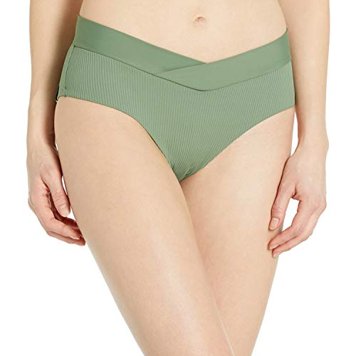 Body Glove Women\'s Nuevo Retro High Rise Bikini Bottom Swimsuit, Ibiza Ribbed Cactus, X-Small