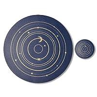 飲み物コースター革テーブルプレースマットラウンド滑り止め防水と耐油性食器マット両面使用可能 (Color : Blue)