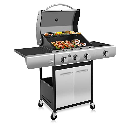 Propane Gas Grill,3 Burner Cart Style Liquid BBQ Grill with Side Burner & 4 Wheels,34000 BTU Stainless Steel Enamelled Cooking grills,For outdoor,Patio,Garden Grills Propane