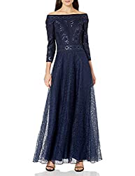 Navy Off The Shoulder Embroidered Gown