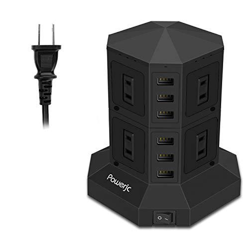 Powerjcタワー式電源タップ 2層縦コンセント 8AC充電口雷ガード 過負荷保護 省エネ 延長コード1.5m オフィス/家庭給電用
