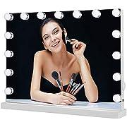 Meidom Hollywood Schminkspiegel mit 15 LED-Lichtern, Touch-Steuerung, Tabletop Make-up Kosmetikspiegel mit USB für Wohnzimmer, Schlafzimmer, Kosmetikstudio - Weiß (58cmX46cm)
