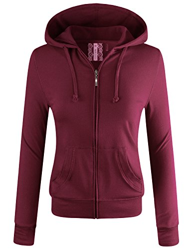 ELF FASHION Women Lightweight Cotton Hoodie Casual Long Sleeve Zip-Up Jacket W/Kangaroo Pocket DARKBURGUNDY 3XL