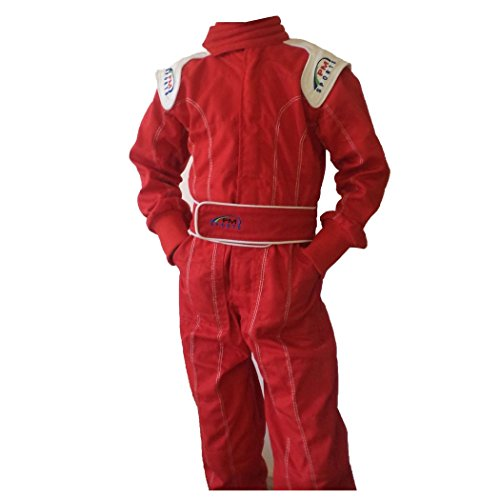 PM Sports Kinder Rennfahreranzug, Overall, Kart, Baumwoll-Mischgewebe, für drinnen und draußen, rot, 94
