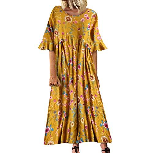 Robe Longue Femme Ete 2019 Chic Tunique Femme Double Couches Robe de Soleil Maxi Maternité Grossesse Boheme Imprimée Robe de Plage Robe de Vintage V-Ncek Printemps Femmes Asymétrique