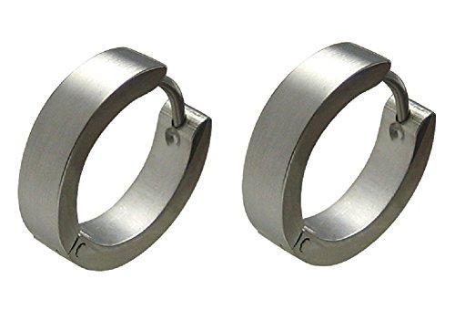 Kikuchi Herren Klassische Ohrringe Edelstahl Klapp Creolen Silber Matt 4mm/16mmØ ER15105