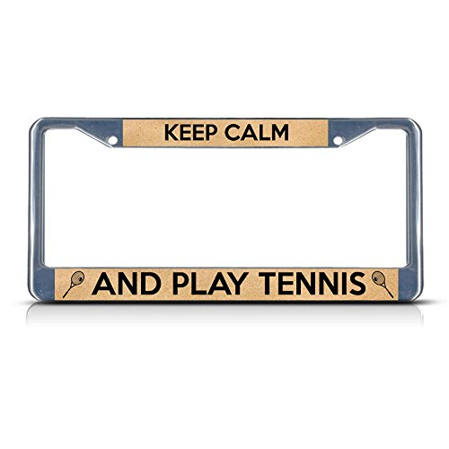 Keep Calm and Play Tennis Metal License Plate Frame Tag Border Twee Gaten Perfect voor Mannen Vrouwen Auto garadge Decor