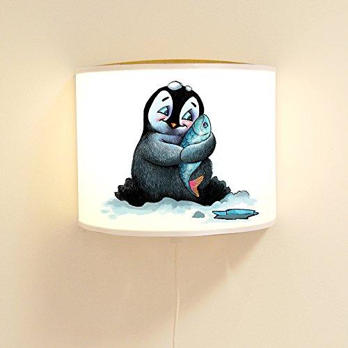 ilka parey wandtattoo-welt® Ls49 Lampe de Lecture/Lampe de Lecture/Lampe Murale pour Enfant, Lampe à glaçons avec Pingouin et Poisson Ls49