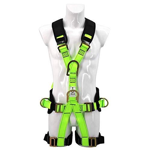 Kücheks Arnés de Escalada Arnés de Seguridad Verde Fluorescente de Cuerpo Completo Cinturón Seguro para montañismo al Aire Libre Espeleología Escalada en Roca Equipo de Rappel