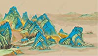 3D壁紙壁画 手描きの金箔の筆致中国絵画ターコイズの風景 リビングルームの寝室の壁の装飾の壁画の壁紙