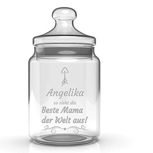 Smyla Personalisiertes Bonbonglas mit Wunsch-Namen | Muttertag | Beste Mama der Welt | Glas mit Gravur | Keks-Glas mit Deckel | Deko Wohnzimmer Küche | Dekoration