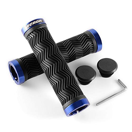 LYCAON Bike Handlebar Grips, 2 Sides Locking, TPR Rubber Anti-Slip Bicycle Handle Grip, Bike Grips Fits MTB/BMX/Mountain/Downhill/Foldable/Urban Bicycles/Scooter (Blue, Classic Grips)