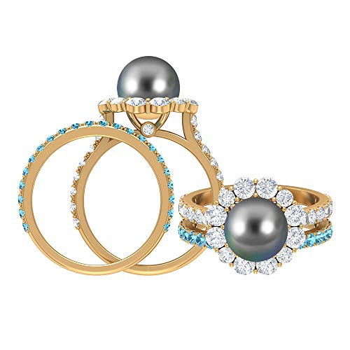 4,5 CT Tahitiperle und Moissanit Ring, 1,8 mm rundes Aquamarin Eternity Band, Gold Brautring Set (8 MM runde Tahitiperle), 14K Gelbes Gold, Size:EU 52