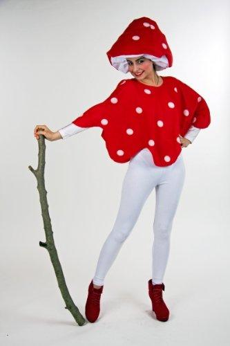 Damen Kostüm Fliegenpilz Überwurf und Hut zu Karneval und Fasching
