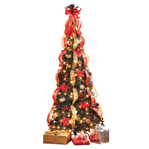 HOLIDAY PEAK 7' Pull-Up Poinsettia Christmas Tree, Pre-Lit and Fully Decorated, Collapses for Easy Storage