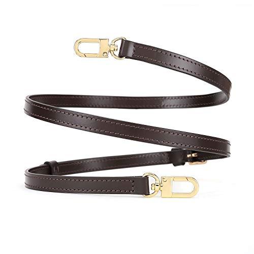 OULARIO Verstellbarer Schulterriemen aus echtem Leder für kleine Taschen, Braun Mini NM Eva Favorite PM MM Nano Speedy, Braun (Brown Width 1.2cm (0.47inch) Gold Hd), Small
