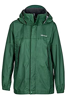 Marmot Boys' PreCip Lightweight Waterproof Rain Jacket, Dark Green, Medium