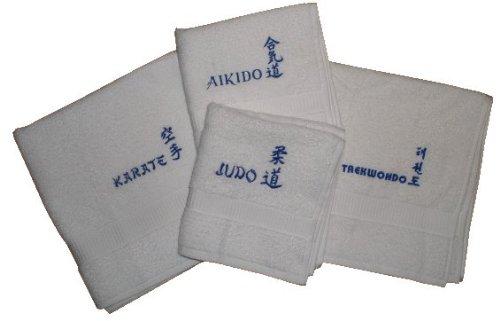 S.B.J - Sportland Handtuch aus Frottee mit Bestickung Judo Text und Schriftzeichen/Kanji weiß