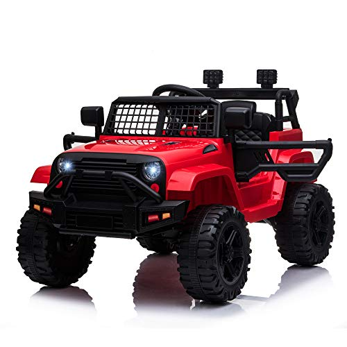 HOMCOM 12V Battery-powered Kids Electric Ride On Car Truck Off-road Toy with Parental Remote Control Music Lights MP3 Suspension Wheels for 3-6 Years Old Red
