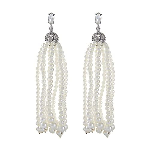 Pendientes de borlas de perlas exageradas europeas y americanas Pendientes largos de temperamento simple Pendientes