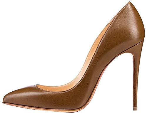 EDEFS Zapatos de Tacón para Mujer,Mujer Zapatos Aguja Tacón Altos Fiesta de Bodas Zapatos Marrón EU39
