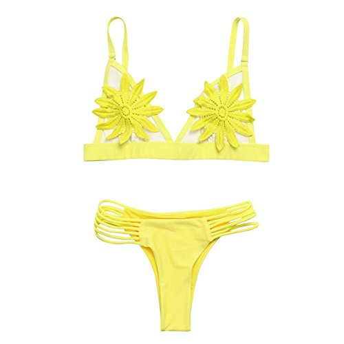 G-real Womens Girls Sexy Flower Bikini Set Push Up Padded Tops+Side Tie Bottoms 2 Piece Bathing Suit (Yellow, M)