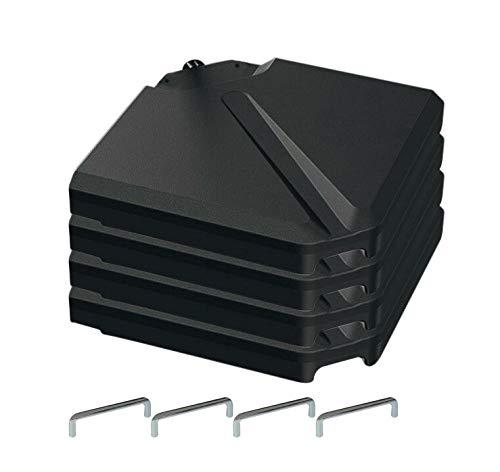 QM Basic Sonnenschirm Beschwerungsplatten 4 Platten befüllbar Schirmständer Kunststoff Gewichtsplatten