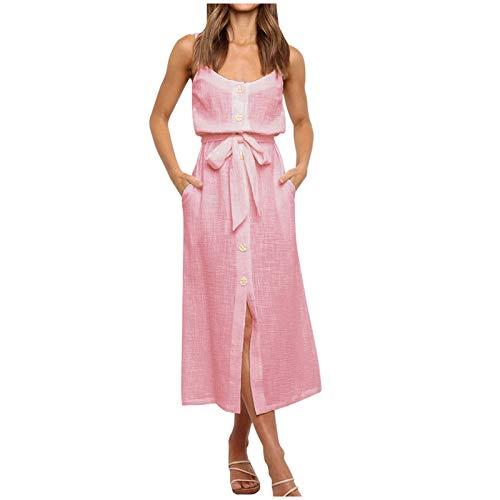 Janly Clearance Sale Vestido de mujer, con botones, para mujer, sin mangas, casual, sexy, suelto, para vacaciones, verano, color rosa