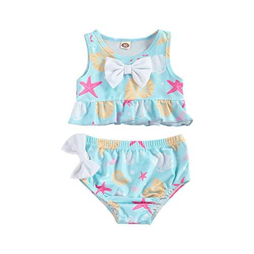 Toddler Girl - Traje de baño de dos piezas para bebé, traje de baño de playa, sujetador Top Bottom Slip Beachwear azul claro 2-3 Años