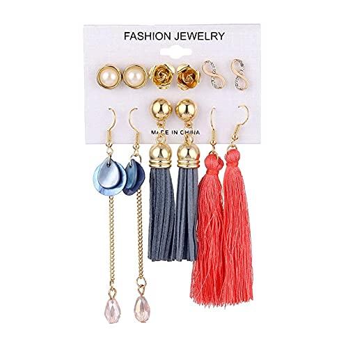 FEARRIN Pendientes de Oro Vintage Pendientes Colgantes de Borla de Oro Bohemio Conjunto para Mujer Chica Boda Cristal Acrílico Pendientes Colgantes Joyería LNI0671-3E