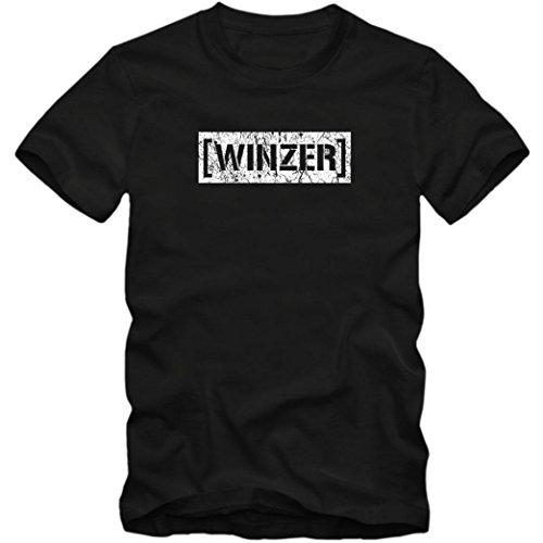 Bester Winzer #1 T-Shirt | Berufe | Follow Your Dreams | Traumberuf | Herren | Shirt, Farbe:Schwarz (Deep Black L190);Größe:L