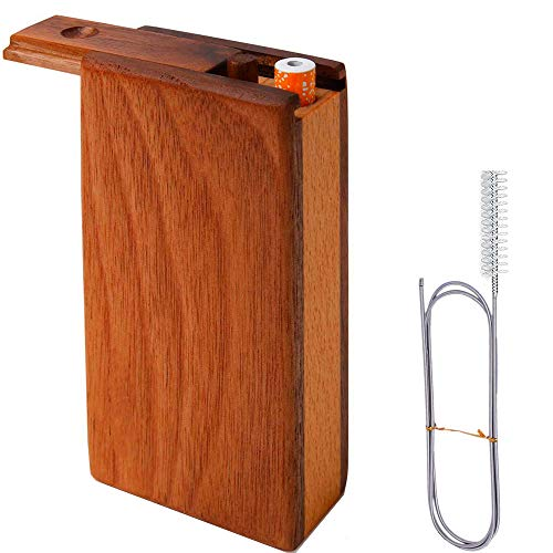 Natural Walnut Storage Box with Clean Tool [4.1 inch] [Mini Slider Lid System] and 2 Metal Tube and Cleaning Brush