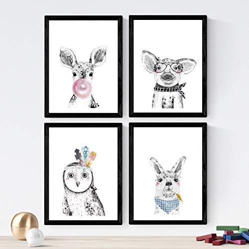 Nacnic Set de 4 láminas de Animales Infantiles con Chicle Rosa Y Gafas,en tamaño A4, Poster Papel 250 gr Marco