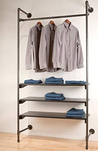 WGX Design For You Industrial Pipe Clothing Rack Wood Garment Rack Pipeline Vintage Rolling Rack On Wall(Black)