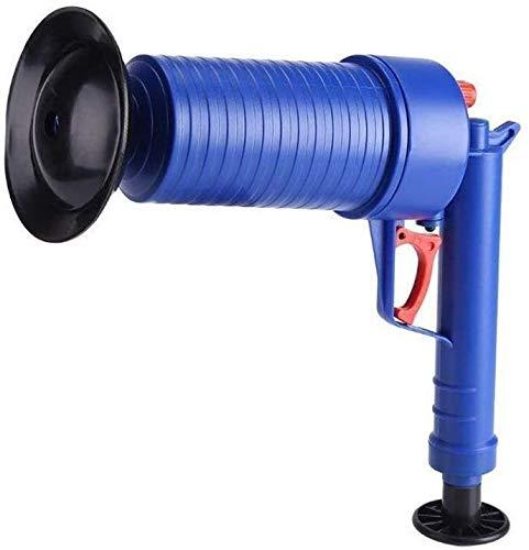 Limpiador de desagüe de presión de aire, desatascador de dragas de fregadero, herramientas limpiadoras para inodoro, baño, ducha, cocina, tubería obstruida, tina con 4 ventosas (azul)