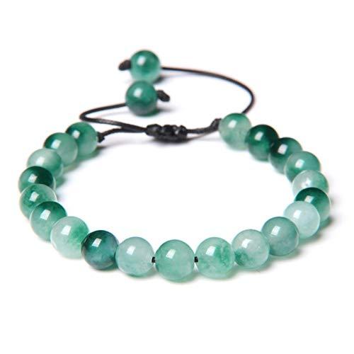 LIUL Moda Bloodstone Beads Pulsera Trenzada Cuentas de Piedra Natural Cuerda Negra Pulsera Ajustable Tejida Energía para Mujeres Hombres, Jade Blanco