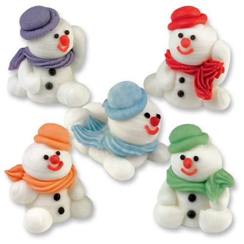 Günthart 5 x Schneemann aus Zucker, Zuckerschneemänner farbig sortiert