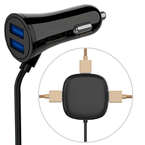 5 USB Car Charger Adapter - Multi Ports Car Charger - 5-Port Split Smart Cigarette Lighter Car Charger,PowerDrive 5 for iPhone XS/MAX/XR/X/8/7/6/Plus, iPad Pro/Air 2/Mini, Note 5/4, LG Phone