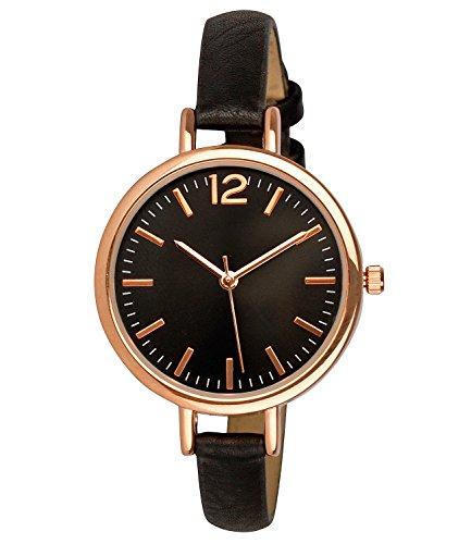 SIX Modische Damen Armbanduhr [rostfrei] Frauen » Premium Uhr mit Edelstahlgehäuse « schwarzes Armband aus Kunstleder - rosé-Gold - Ziffernblatt mit DREI Zeigern (274-337)